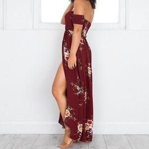 Dresses - Romantic Floral Off the Shoulder Maxi Dress